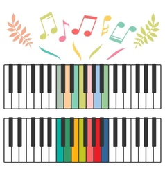 Colored piano keys and notes vector image vector image