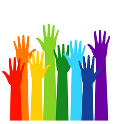 colored volunteer crowd hands vector image