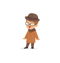 cute little boy wearing brown coat and hat young vector image vector image
