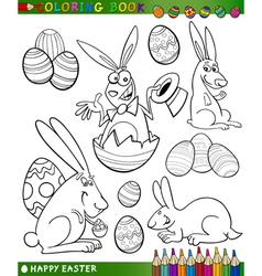 easter cartoon themes for coloring vector image