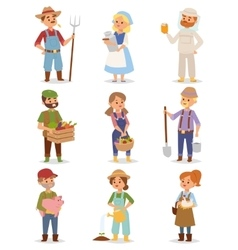 Farmers people set vector image