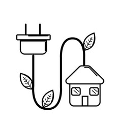 Figure house with reduce power cable icon vector