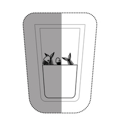 Fish inside dirty water glass vector
