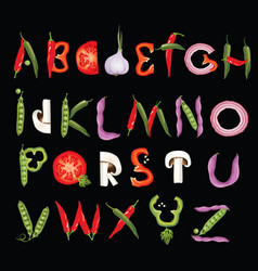 food alphabet made of vegetables eco font vector image