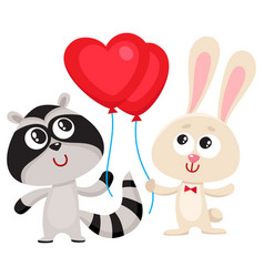 funny rabbit bunny and raccoon holding red heart vector image