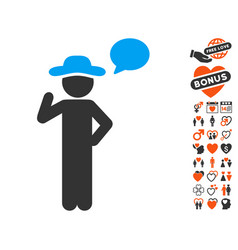 Gentleman speech icon with dating bonus vector