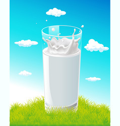 glass of milk with splash on natural background vector image vector image