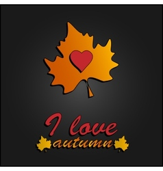 I Love Autumn Heart symbol in autumn leaves vector image