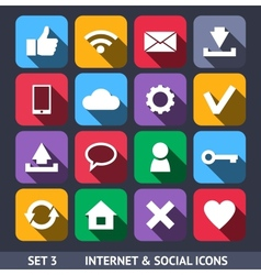 Internet and Social Icons With Long Shadow vector image vector image