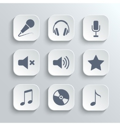Media icons set - white app buttons vector image vector image