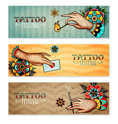 Oldschool tattoo hands horizontal banners vector