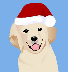 retriever close up in santa cap vector image vector image