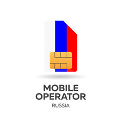 Russia mobile operator sim card with flag vector