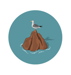 Seagull on a stone on a white background vector