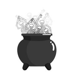 Sinner in pot skeleton in boiler cook for sinners vector