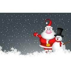 snowman and santa claus vector image
