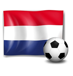 The flag of Netherlands at the back of a soccer vector image