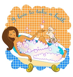 Woman taking a bath vector