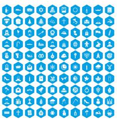 100 church icons set blue vector