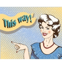 Woman with speech bubble pointing finger to the vector image