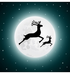 Reindeer and baby deer jumping vector
