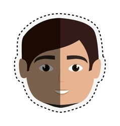 Head young man isolated icon vector