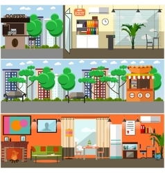 Set of gadgets interior concept posters vector