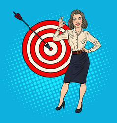 pop art businesswoman achieved the target vector image