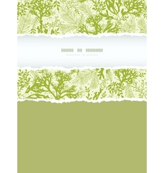 Green underwater seaweed vertical torn frame vector