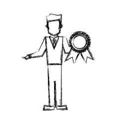 Vet man with award prize competition sketch vector