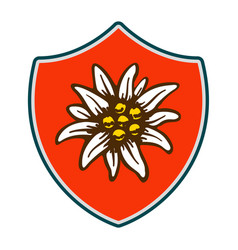 edelweiss shield flower symbol alpinism alps vector image