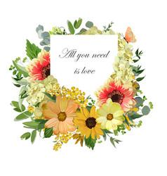Design vertical card yellow sunflower hydrangea vector