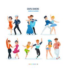 Waltz tango ballet samba popular hip-hop vector