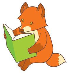 Cartoon fox reading a big book vector