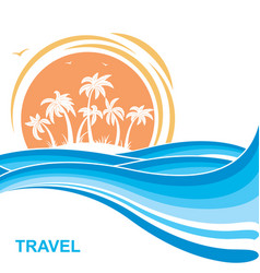 tropical island and sunsea waves background vector image