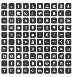 100 well person icons set black vector