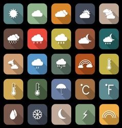 Weather flat icons with long shadow vector