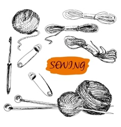 Sewing set of vector