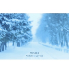Realistic blurred winter landscape background vector