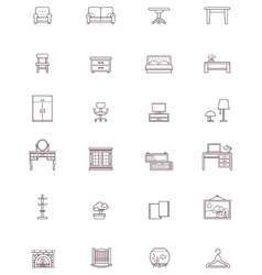 Domestic furniture icon set vector image