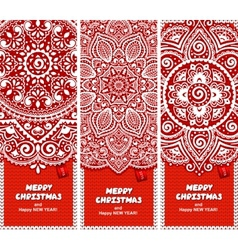 Beautiful Christmas set of banners with lace vector image