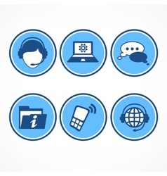 Customer support icons in blue vector