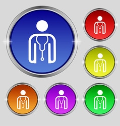 Doctor icon sign round symbol on bright colourful vector