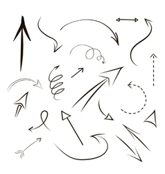 Arrows and lines hand drawn set isolated on gray vector