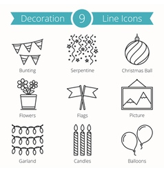 Decoraion objects line icons vector