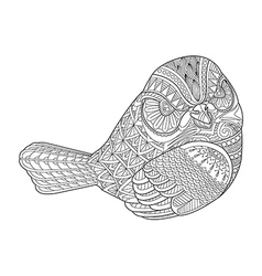 Drawing zentangle bird for coloring page shirt vector