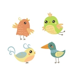 Four cute small birds set vector