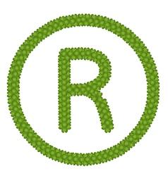 A Four Leaf Clover of Registered Symbol vector image
