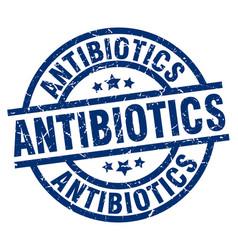 Antibiotics blue round grunge stamp vector