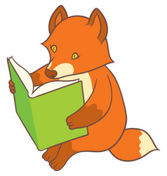 cartoon fox reading a big book vector image vector image